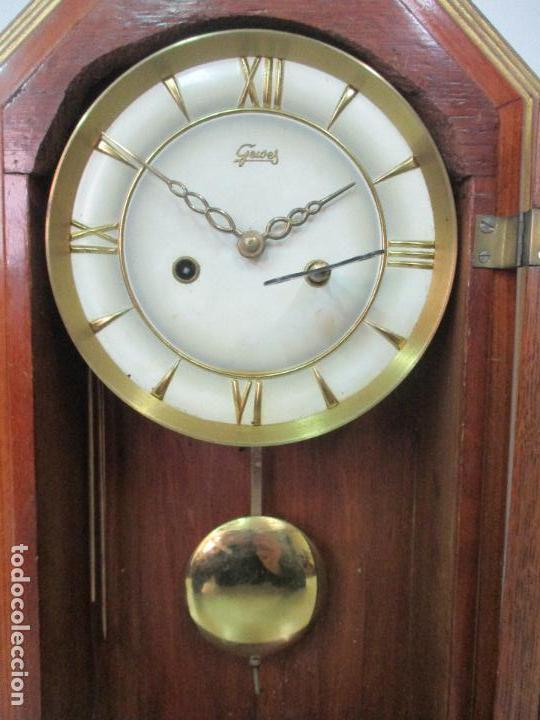 Relojes de carga manual: Bonito Reloj de Sobremesa, Carga Manual - Marca Geides - Madera de Roble - Completo - Funciona - Foto 12 - 118783499