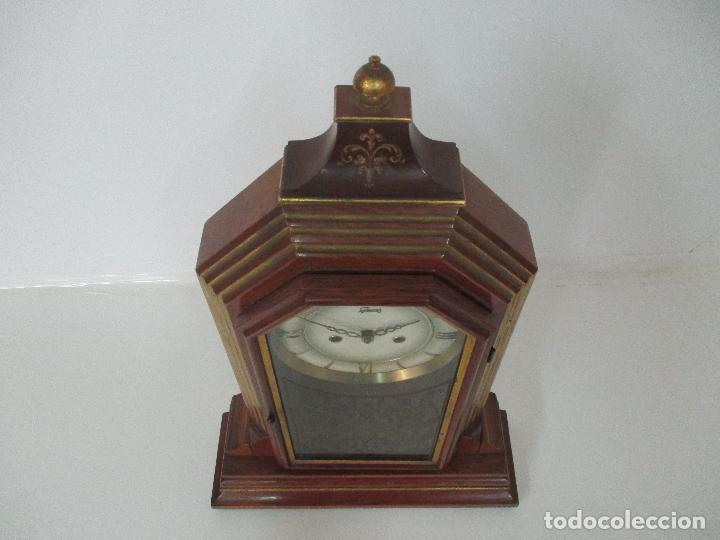Relojes de carga manual: Bonito Reloj de Sobremesa, Carga Manual - Marca Geides - Madera de Roble - Completo - Funciona - Foto 14 - 118783499