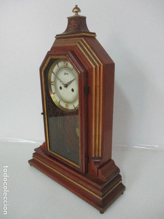Relojes de carga manual: Bonito Reloj de Sobremesa, Carga Manual - Marca Geides - Madera de Roble - Completo - Funciona - Foto 23 - 118783499