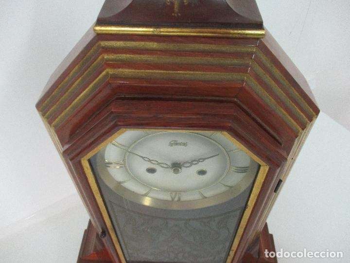Relojes de carga manual: Bonito Reloj de Sobremesa, Carga Manual - Marca Geides - Madera de Roble - Completo - Funciona - Foto 24 - 118783499