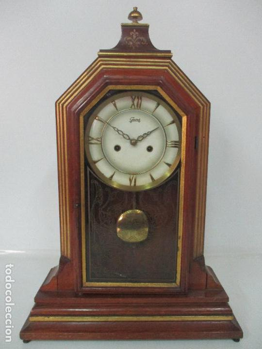 Relojes de carga manual: Bonito Reloj de Sobremesa, Carga Manual - Marca Geides - Madera de Roble - Completo - Funciona - Foto 26 - 118783499