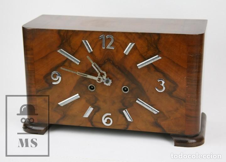 ANTIGUO RELOJ ART DÉCO DE SOBREMESA - MARCA ORIGINAL, CAJA RECTANGULAR - AÑOS 30-40 - FUNCIONANDO (Relojes - Sobremesa Carga Manual)