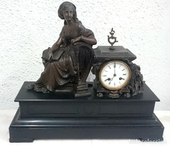 Relojes de carga manual: Antiguo reloj Napoleón III, bronce, Diosa Clío, maquinaria viejo parís. 51x47x17cm. Perfecto. - Foto 3 - 121168419
