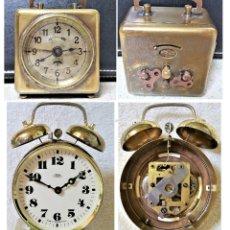 Relojes de carga manual: X2: LENZKIRCH AGU 1 MILLION ALARMA 1.890 GERMANI + CLÁSICO CAMPANAS LATÓN MECÁNICO CHECOSLOVAQUIA. Lote 104801079