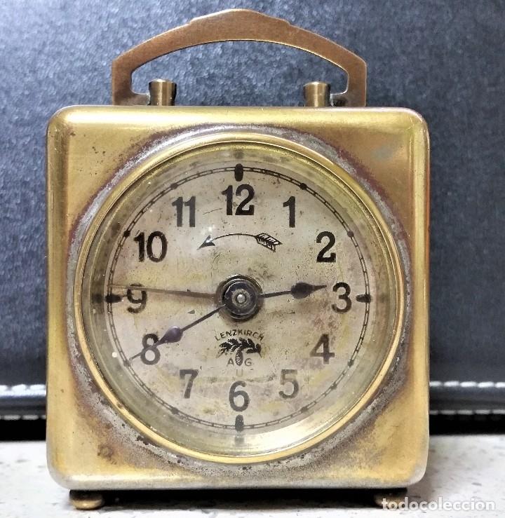 Relojes de carga manual: x2: LENZKIRCH AGU 1 MILLION ALARMA 1.890 GERMANI + CLÁSICO CAMPANAS LATÓN MECÁNICO CHECOSLOVAQUIA - Foto 2 - 104801079