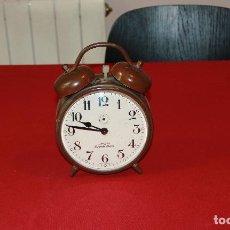 Relojes de carga manual: ANTIGUO DESPERTADOR DE SOBREMESA DE DOBLE CAMPANA GIGANTE. Lote 124215663