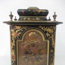 Relojes de carga manual: RELOJ DE SOBREMESA - TEMPUS FUGIT - MADERA LACADA - MOTIVOS ORIENTALES - COMPLETO - FUNCIONA. Lote 124651127
