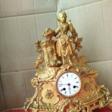 Relojes de carga manual: IMPRESIONANTE RELOJ ANTIGUO FRANCÉS BRONCE AL MERCURIO ORO FINO SIGLO XIX ALTA CALIDAD. Lote 125239407