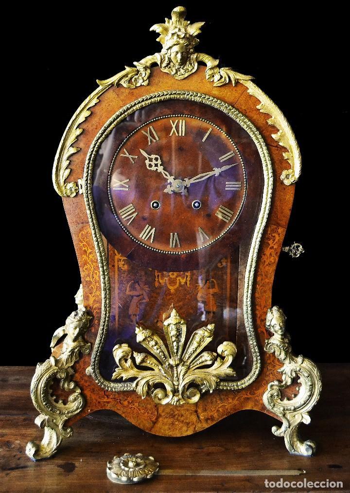 RELOJ DE SOBREMESA ESTILO LUIS XV SIGLO XIX (Relojes - Sobremesa Carga Manual)
