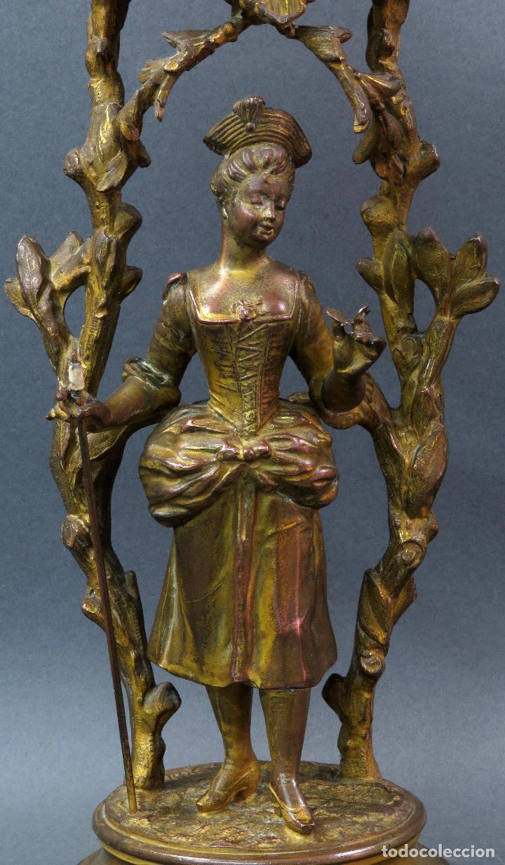 Relojes de carga manual: Reloj de sobremesa en bronce dorado francés finales del siglo XIX no funciona - Foto 3 - 129236759