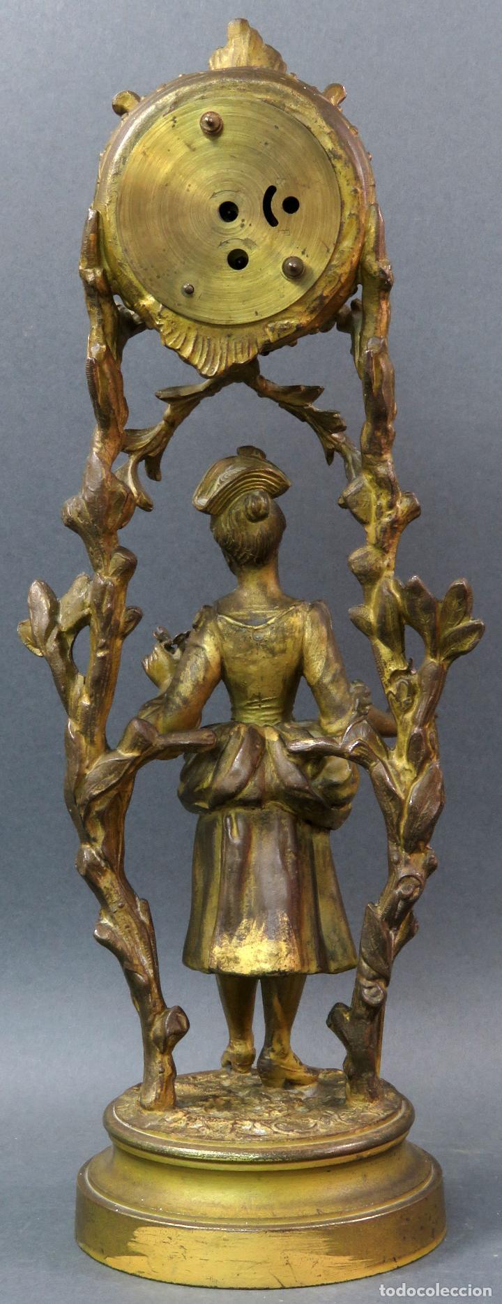 Relojes de carga manual: Reloj de sobremesa en bronce dorado francés finales del siglo XIX no funciona - Foto 4 - 129236759