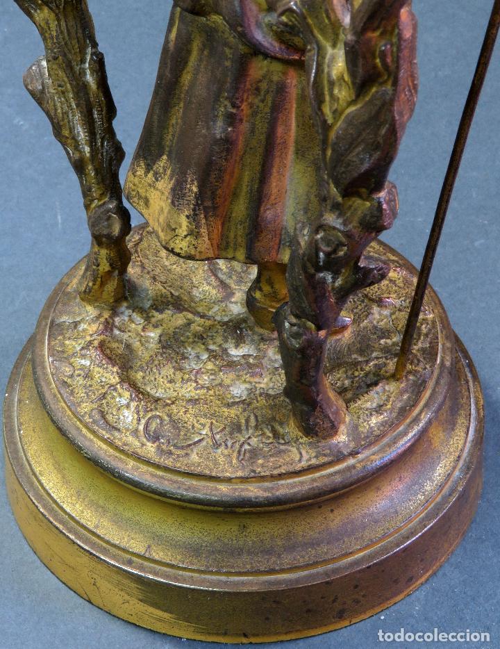 Relojes de carga manual: Reloj de sobremesa en bronce dorado francés finales del siglo XIX no funciona - Foto 9 - 129236759