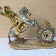 Relojes de carga manual: RELOJ DE SOBREMESA DE BRONCE (MANUAL), CON BASE DE MÁRMOL - FUNCIONA PERFECTAMENTE. Lote 129640539
