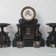 Relojes de carga manual: RELOJ DE SOBREMESA, NOTARIO - CON GUARNICIONES - ISSAC & CIA - MÁRMOL - NAPOLEÓN III - FUNCIONA. Lote 130035263