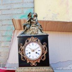 Relojes de carga manual: MARAVILLOSO RELOJ FRANCES SIGLO XIX MÁRMOL Y BRONCE. Lote 130873492