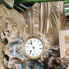 Relojes de carga manual: IMPRESIONANTE RELOJ FRANCÉS SIGLO XIX CON INCRUSTACIONES DE PORCELANA. Lote 130876867