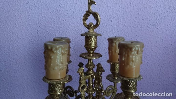 Relojes de carga manual: ANTIGUO RELOJ Y CANDELABROS BRONCE - Foto 12 - 132245246
