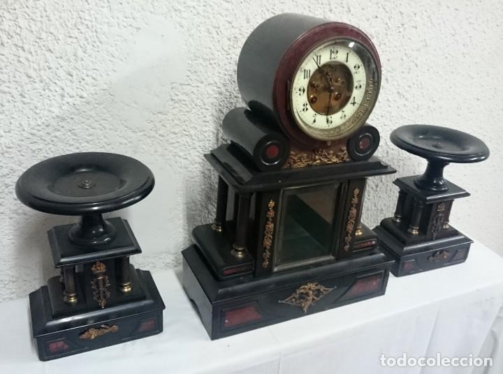 Relojes de carga manual: Espectacular reloj con copas, guarnición. Napoleón III, Imperio original. Péndulo mercurio. Funciona - Foto 3 - 132389370