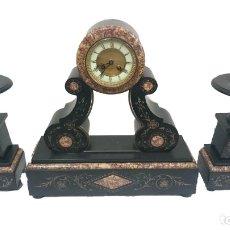 Relojes de carga manual: RELOJ, GUARNICIÓN, CANDELABROS NAPOLEÓN III, IMPERIO. FUNCIONA. IMPRESIONANTE. ÚNICO. SIGLO XIX.. Lote 121815975