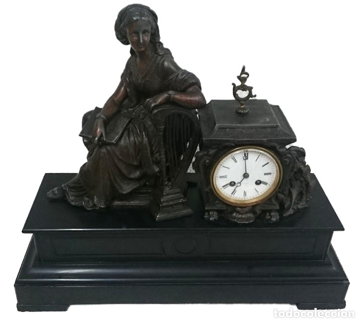 ANTIGUO RELOJ NAPOLEÓN III, BRONCE, DIOSA CLÍO, MAQUINARIA VIEJO PARÍS. 51X47X17CM. PERFECTO. (Relojes - Sobremesa Carga Manual)