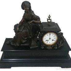Relojes de carga manual: ANTIGUO RELOJ NAPOLEÓN III, BRONCE, DIOSA CLÍO, MAQUINARIA VIEJO PARÍS. 51X47X17CM. PERFECTO.. Lote 121168419