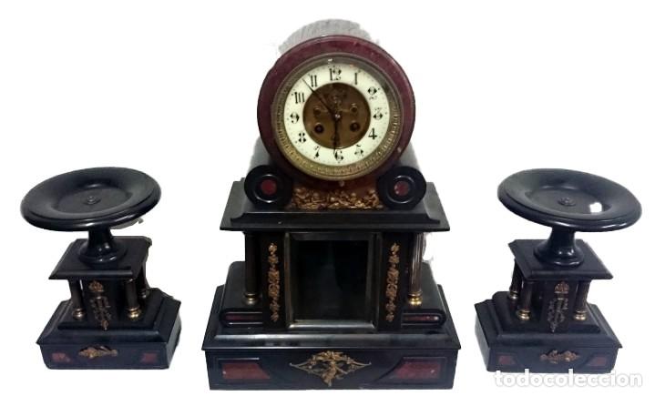 ESPECTACULAR RELOJ CON COPAS, GUARNICIÓN. NAPOLEÓN III, IMPERIO ORIGINAL. PÉNDULO MERCURIO. FUNCIONA (Relojes - Sobremesa Carga Manual)