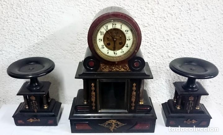Relojes de carga manual: Espectacular reloj con copas, guarnición. Napoleón III, Imperio original. Péndulo mercurio. Funciona - Foto 2 - 132389370