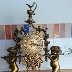 Relojes de carga manual: ESCULTURA BRONCE MACIZO Y CANDELABROS BASE DE MARMOL SATIROS. Lote 265950753