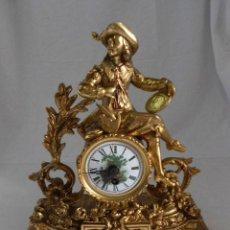 Relojes de carga manual: RELOJ DE BRONCE SOBREMESA CARGA MANUAL CON BASE DE MÁRMOL. Lote 135049866