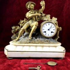 Relojes de carga manual: RELOJ DE SOBREMESA. BRONCE DORADO Y ALABASTRO. DUFAUD. PARIS. SIGLO XIX.. Lote 135295938