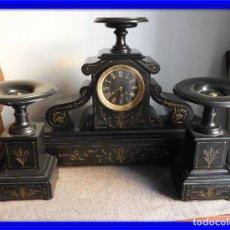 Relojes de carga manual: RELOJ MARMOL BELGA NAPOLEON III CON COPAS A JUEGO. Lote 135330878