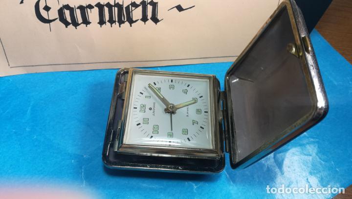 Relojes de carga manual: Botito y antique reloj despertador de viaje JUNGHANS , funcionando - Foto 8 - 140283502