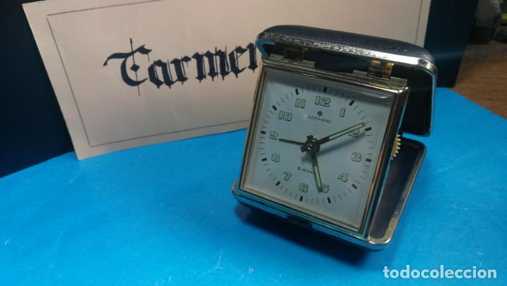 Relojes de carga manual: Botito y antique reloj despertador de viaje JUNGHANS , funcionando - Foto 18 - 140283502