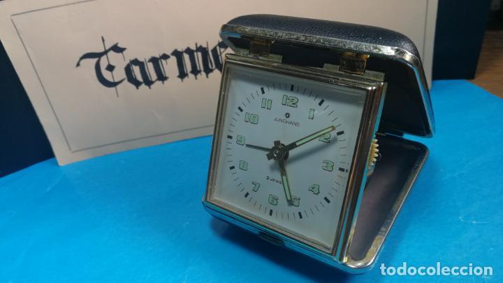 Relojes de carga manual: Botito y antique reloj despertador de viaje JUNGHANS , funcionando - Foto 19 - 140283502