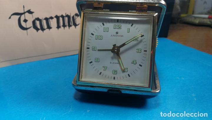 Relojes de carga manual: Botito y antique reloj despertador de viaje JUNGHANS , funcionando - Foto 24 - 140283502