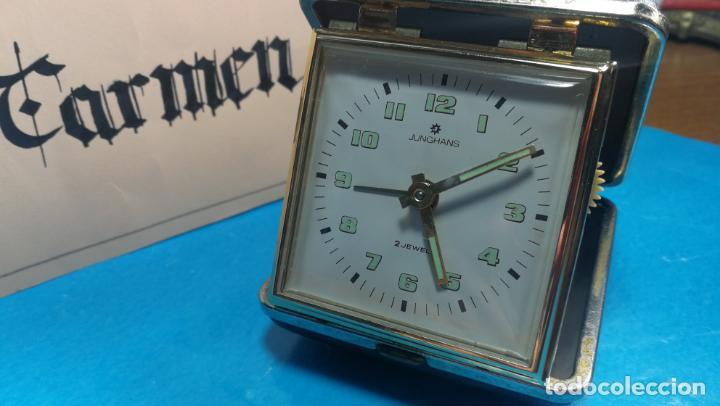 Relojes de carga manual: Botito y antique reloj despertador de viaje JUNGHANS , funcionando - Foto 26 - 140283502