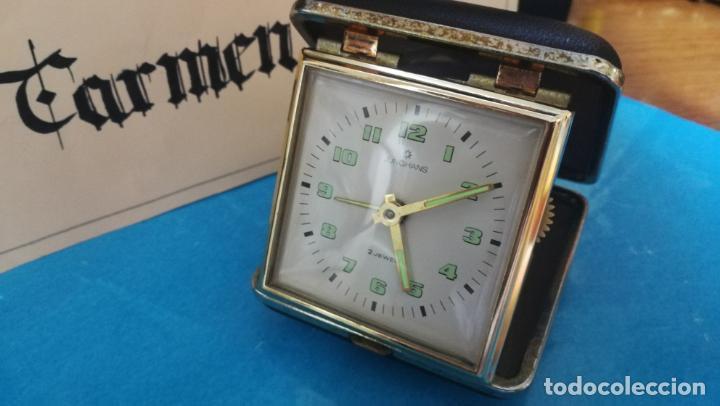 Relojes de carga manual: Botito y antique reloj despertador de viaje JUNGHANS , funcionando - Foto 29 - 140283502