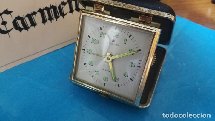 Relojes de carga manual: Botito y antique reloj despertador de viaje JUNGHANS , funcionando - Foto 30 - 140283502