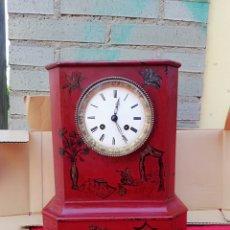 Relojes de carga manual: ESPECTACULAR RELOJ FRANCÉS SIGLO XIX MADERA CON PINTURAS. Lote 143161010