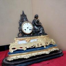 Relojes de carga manual: IMPRESIONANTE RELOJ FRANCES IMPERIO BRONCE AL MERCURIO SIGLO XIX ESFERA FIRMADA PEANA PAN DE ORO. Lote 142776922