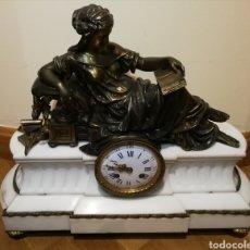 Relojes de carga manual: RELOJ DE MARMOL Y FIGURA BRONCE.. Lote 142339677