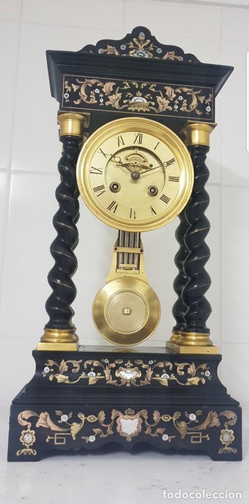 RELOJ PORTICO ANTIGUO MÁQUINA ESCAPE VISTO BUEN ESTADO CIRCA 1850 1860 FUNCIONA ALTA COLECION (Relojes - Sobremesa Carga Manual)