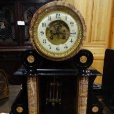 Relojes de carga manual: RELOJ DE NOTARIO NAPOLEÓN III,S.XIX. MÁRMOL NEGRO Y CARRARA. MAQUINARIA DE PARÍS. PÉNDULO MERCURIO. Lote 143697342