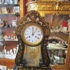 Relojes de carga manual: RELOJ IMPERIO PÓRTICO S XIX. EN MADERA EBONIZADA Y BOULLÉ DE BRONCES Y NACAR. 50X30X14. Lote 27293888