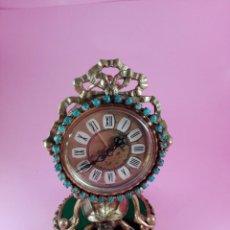 Relojes de carga manual: RELOJ-ANTIGUO-BRONCE-WEST GERMANY-TURQUESAS-FUNCIONANDO-SE DESMONTA TODO-TORTUGA BASE-EXCELENTE. Lote 148499166