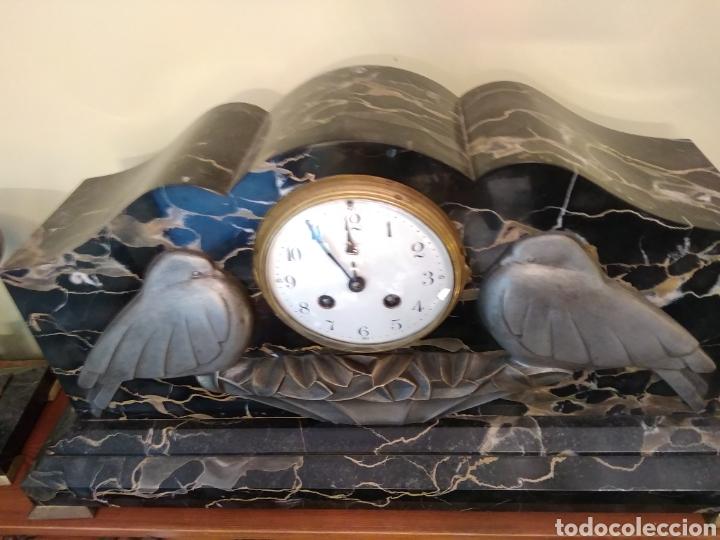 Relojes de carga manual: Reloj art decó con guarnición de granito y metal - Foto 4 - 148536497