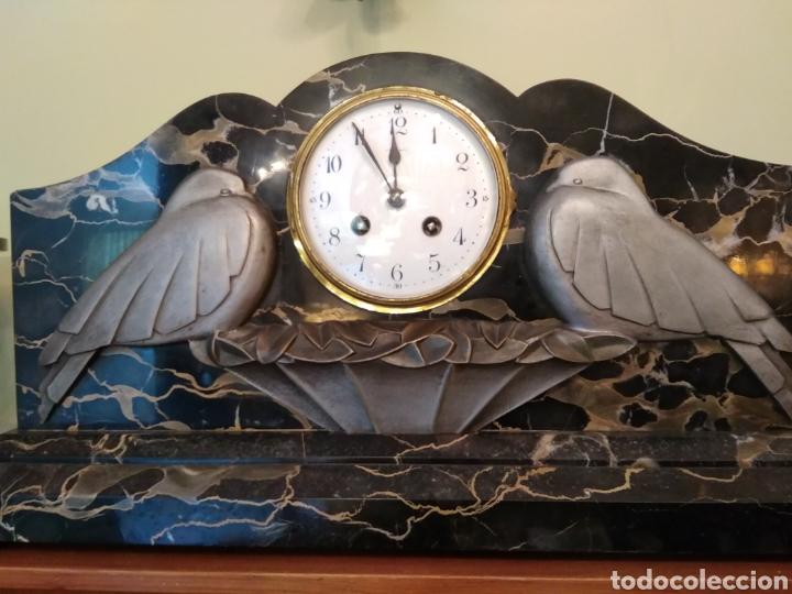 Relojes de carga manual: Reloj art decó con guarnición de granito y metal - Foto 3 - 148536497