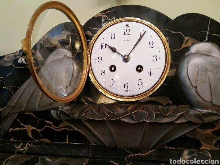 Relojes de carga manual: Reloj art decó con guarnición de granito y metal - Foto 2 - 148536497