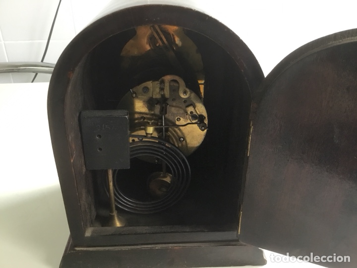 Relojes de carga manual: Reloj de capilla ,caja de madera noble, siglo XIX, en perfecto estado funcionando. - Foto 5 - 149559702