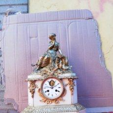 Relojes de carga manual: IMPRESIONANTE RELOJ FRANCÉS DE BRONCE AL MERCURIO ORO FINO Y MÁRMOL CON ESCAPE VISTO SIGLO XIX. Lote 151119729